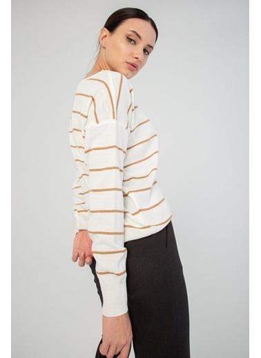 Modaset Modaset 20K5250K1023 Yatay Çizgili Regular Fit Kazak Beyaz